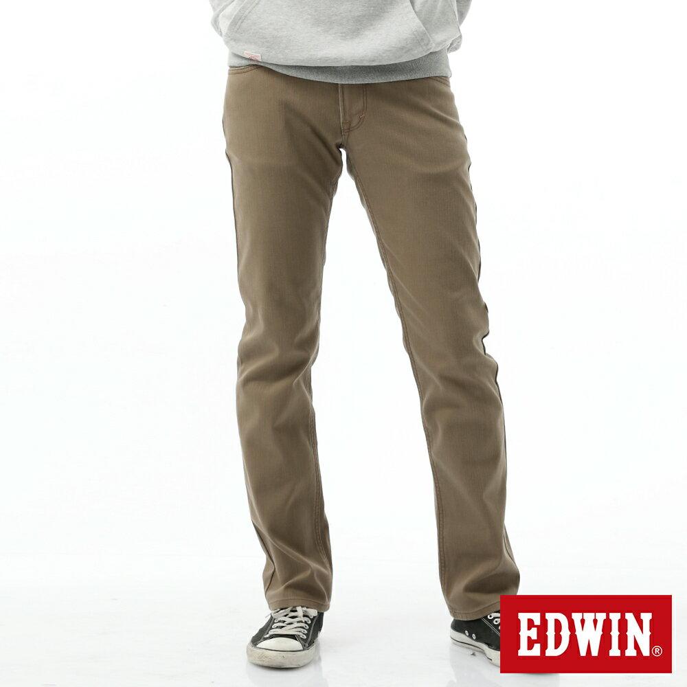 新品↘EDWIN EDGE LINE W.F 大尺碼 保溫中直筒牛仔褲-男款 褐色 STRAIGHT 0