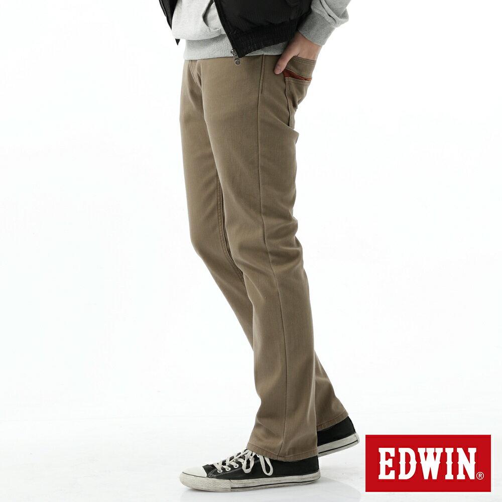 新品↘EDWIN EDGE LINE W.F 大尺碼 保溫中直筒牛仔褲-男款 褐色 STRAIGHT 2