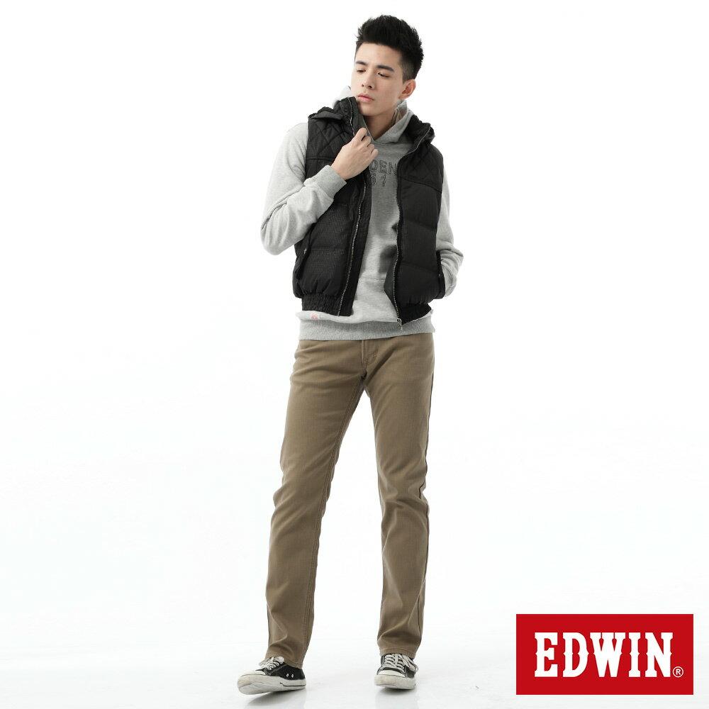 新品↘EDWIN EDGE LINE W.F 大尺碼 保溫中直筒牛仔褲-男款 褐色 STRAIGHT 3