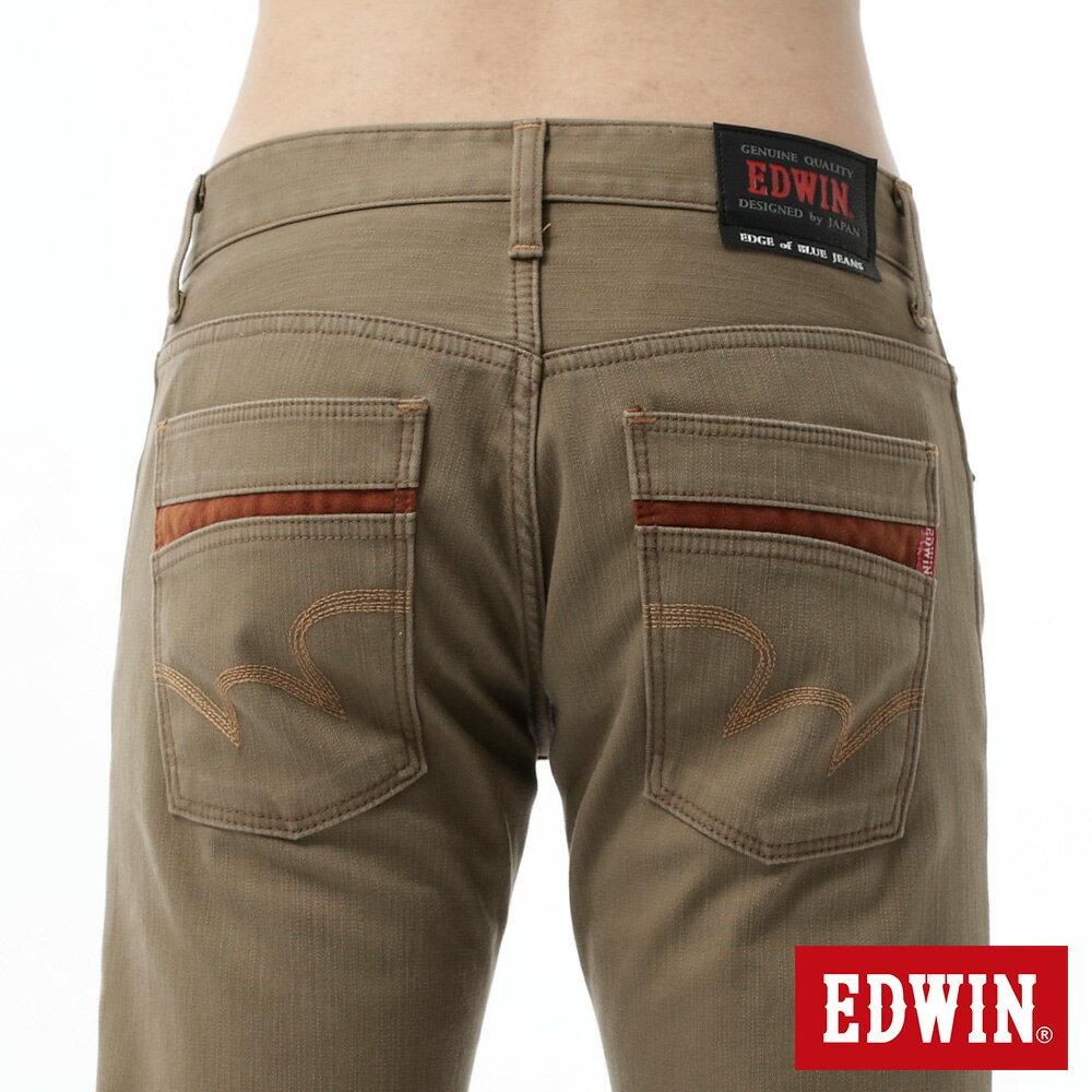 新品↘EDWIN EDGE LINE W.F 大尺碼 保溫中直筒牛仔褲-男款 褐色 STRAIGHT 5