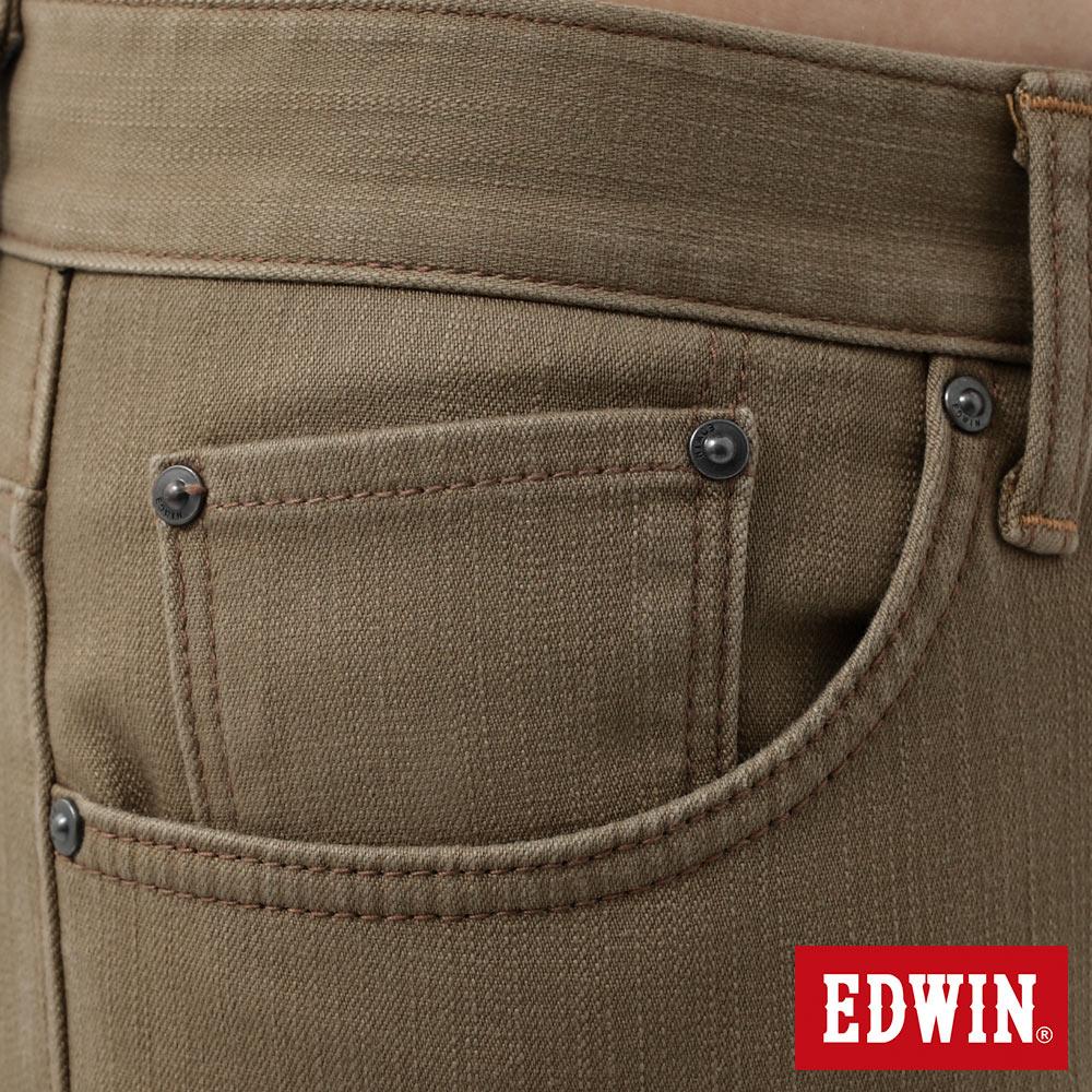 新品↘EDWIN EDGE LINE W.F 大尺碼 保溫中直筒牛仔褲-男款 褐色 STRAIGHT 7