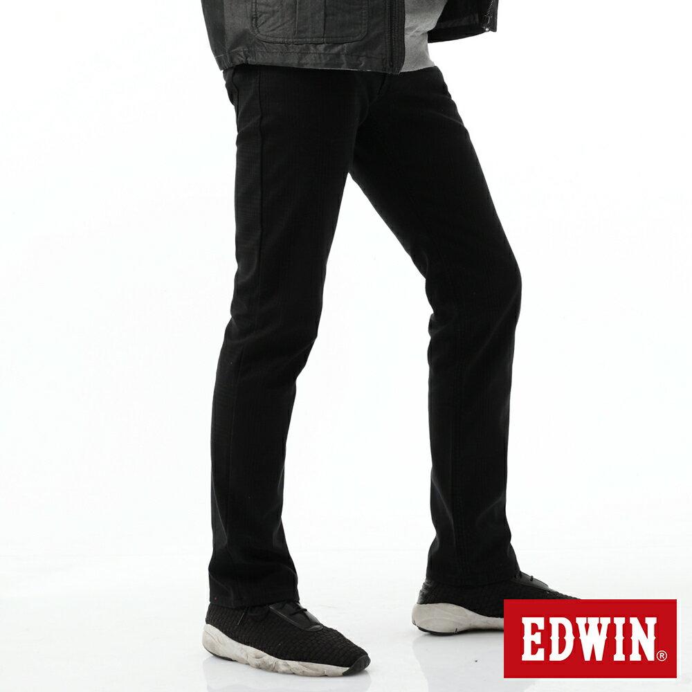 新品↘EDWIN EDGE LINE W.F 保溫中直筒牛仔褲-男款 黑格紋 STRAIGHT 2