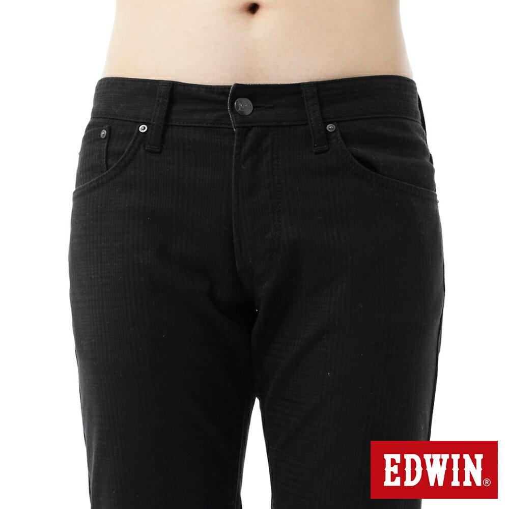 新品↘EDWIN EDGE LINE W.F 保溫中直筒牛仔褲-男款 黑格紋 STRAIGHT 5