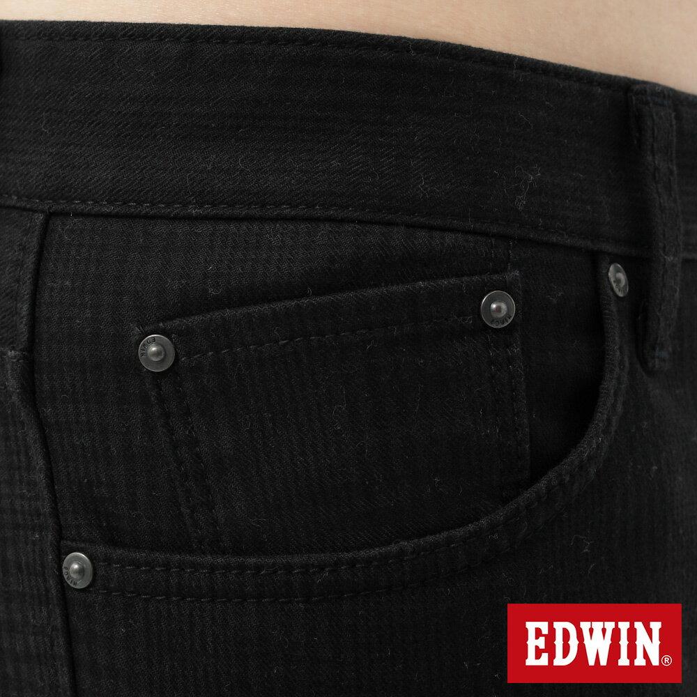 新品↘EDWIN EDGE LINE W.F 保溫中直筒牛仔褲-男款 黑格紋 STRAIGHT 8