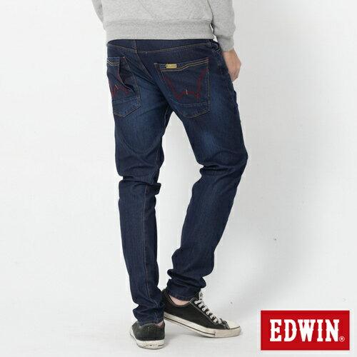 EDWIN JERSEYS 迦績 x E-F 紅袋花窄直筒牛仔褲-男款 酵洗藍 樂天獨家 SILM 1