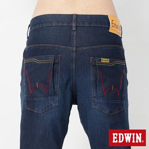 EDWIN JERSEYS 迦績 x E-F 紅袋花窄直筒牛仔褲-男款 酵洗藍 樂天獨家 SILM 4