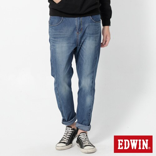 【2000元優惠↘】EDWIN JERSEYS x E-F 迦績紅袋花窄直筒牛仔褲-男款 石洗藍 0