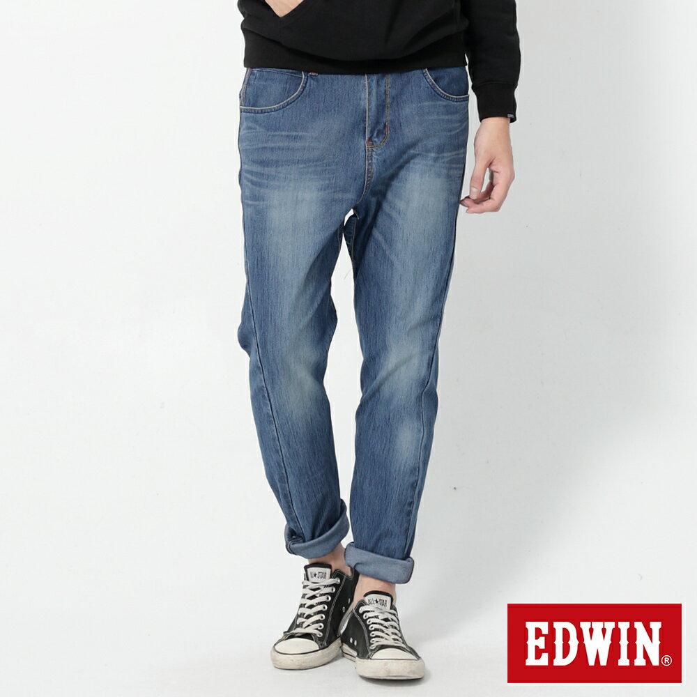 EDWIN JERSEYS 迦績 x E-F 紅袋花窄直筒牛仔褲-男款 石洗藍 樂天獨家 SILM 0