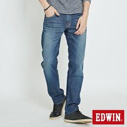 EDWIN 503 EDGE LINE 斜袋 中直筒牛仔褲  -男款 石洗藍 STRAIGHT