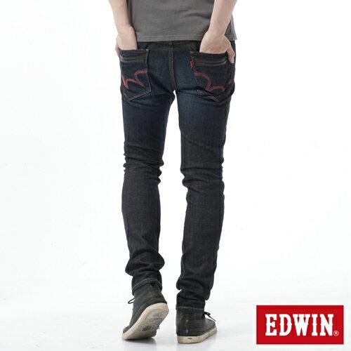【換季最終波。任2件再9折優惠↘】EDWIN EDEG雙層斜袋窄管牛仔褲-男-中古藍 1