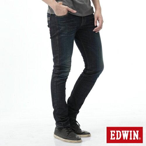 【換季最終波。任2件再9折優惠↘】EDWIN EDEG雙層斜袋窄管牛仔褲-男-中古藍 0