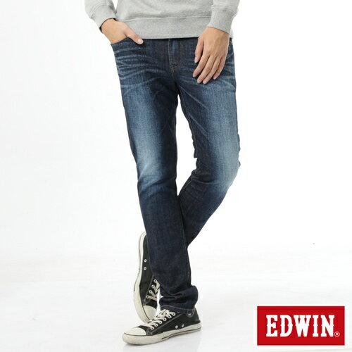 【換季最終波。任2件再9折優惠↘】【加大碼】EDWIN EDEG雙層斜袋窄管牛仔褲-男-原藍磨 0