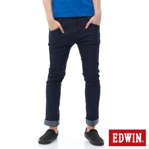 【過年加碼。2件再9折優惠↘】EDWIN JERSEYS x E-F 迦績3D剪裁中直筒牛仔褲-男款 原藍 0