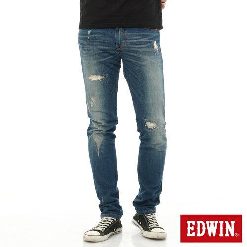 【9折優惠↘】EDWIN 503 NARROW破壞窄管牛仔褲-男-石洗藍 0
