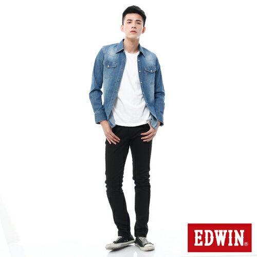 【過年加碼。2件再9折優惠↘】EDWIN EDEG 乾爽COOL 窄直筒色褲-男-黑色 2