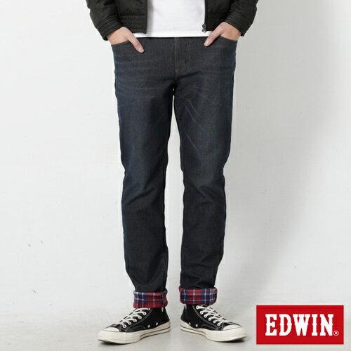 【過年加碼。2件再9折優惠↘】【大尺碼】EDWIN JERSEYS 迦績內層格紋保溫AB褲-男款 原藍磨 1