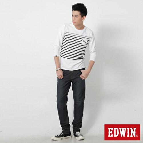 【過年加碼。2件再9折優惠↘】【大尺碼】EDWIN JERSEYS 迦績內層格紋保溫AB褲-男款 原藍磨 2