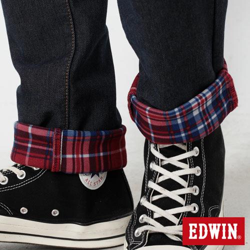 【過年加碼。2件再9折優惠↘】【大尺碼】EDWIN JERSEYS 迦績內層格紋保溫AB褲-男款 原藍磨 5
