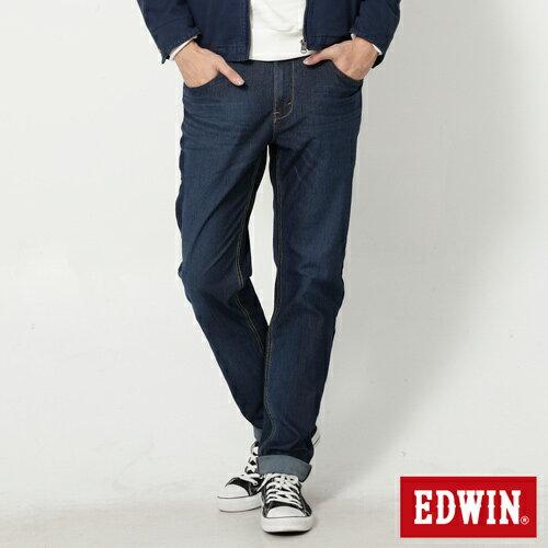 【換季最終波。任2件再9折優惠↘】EDWIN JERSEYS 迦績紅黑賽車格腰頭AB褲-男款 拔洗藍 0