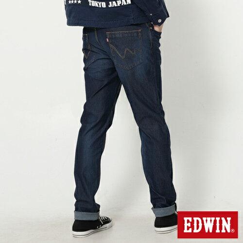 【換季最終波。任2件再9折優惠↘】EDWIN JERSEYS 迦績紅黑賽車格腰頭AB褲-男款 拔洗藍 1