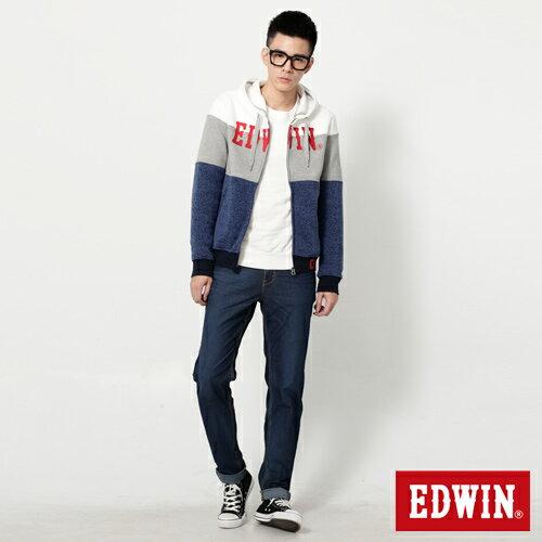 【換季最終波。任2件再9折優惠↘】EDWIN JERSEYS 迦績紅黑賽車格腰頭AB褲-男款 拔洗藍 2