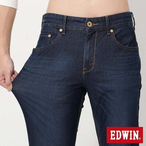 【換季最終波。任2件再9折優惠↘】EDWIN JERSEYS 迦績紅黑賽車格腰頭AB褲-男款 拔洗藍 3
