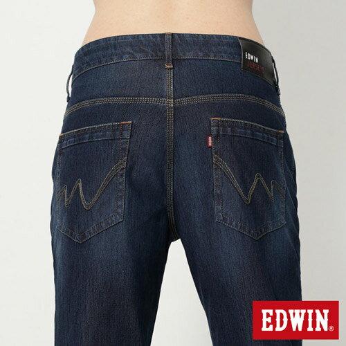 【換季最終波。任2件再9折優惠↘】EDWIN JERSEYS 迦績紅黑賽車格腰頭AB褲-男款 拔洗藍 4