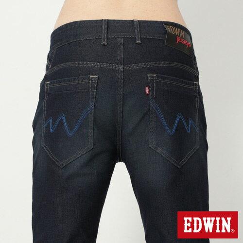 【過年加碼。2件再9折優惠↘】EDWIN JERSEYS 迦績漸層袋花窄直筒牛仔褲-男款 原藍磨 4