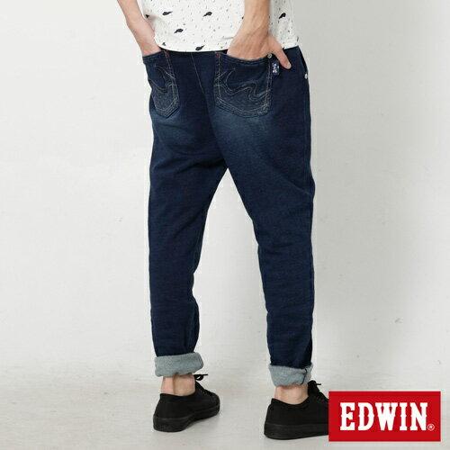【9折優惠↘】【江戶勝系列】EDWIN 針織刷色束口長褲-男-拔洗藍 1