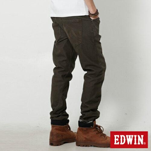 【9折優惠↘】EDWIN JERSEYS x E-F 迦績磨毛窄直筒色褲-男款 橄欖綠【單筆888輸入代碼fashion2228-2折100元↘單筆999點數13倍↘再抽2萬里程數↘】 1