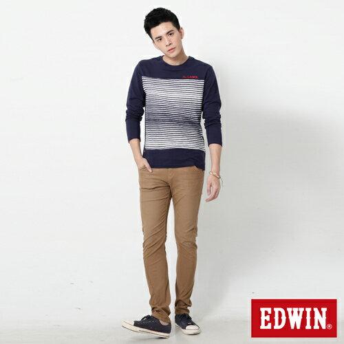 【過年加碼。2件再9折優惠↘】EDWIN JERSEYS x E-F 迦績磨毛窄直筒色褲-男款 卡其 2