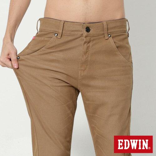 【過年加碼。2件再9折優惠↘】EDWIN JERSEYS x E-F 迦績磨毛窄直筒色褲-男款 卡其 3