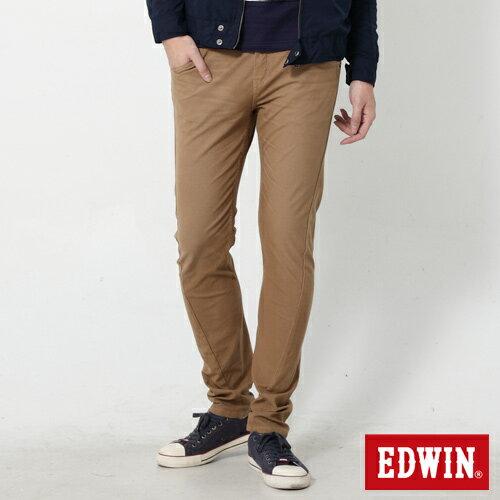 【過年加碼。2件再9折優惠↘】EDWIN JERSEYS x E-F 迦績磨毛窄直筒色褲-男款 卡其 0
