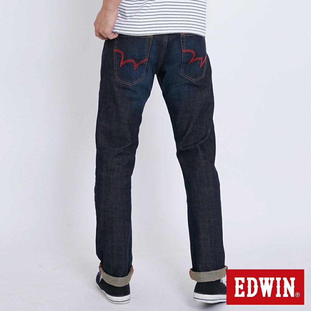 新品↘EDWIN EDGE LINE 大尺碼 順向複刻版 中直筒牛仔褲 (紅色袋花)-男款 中古藍 STRAIGHT 1