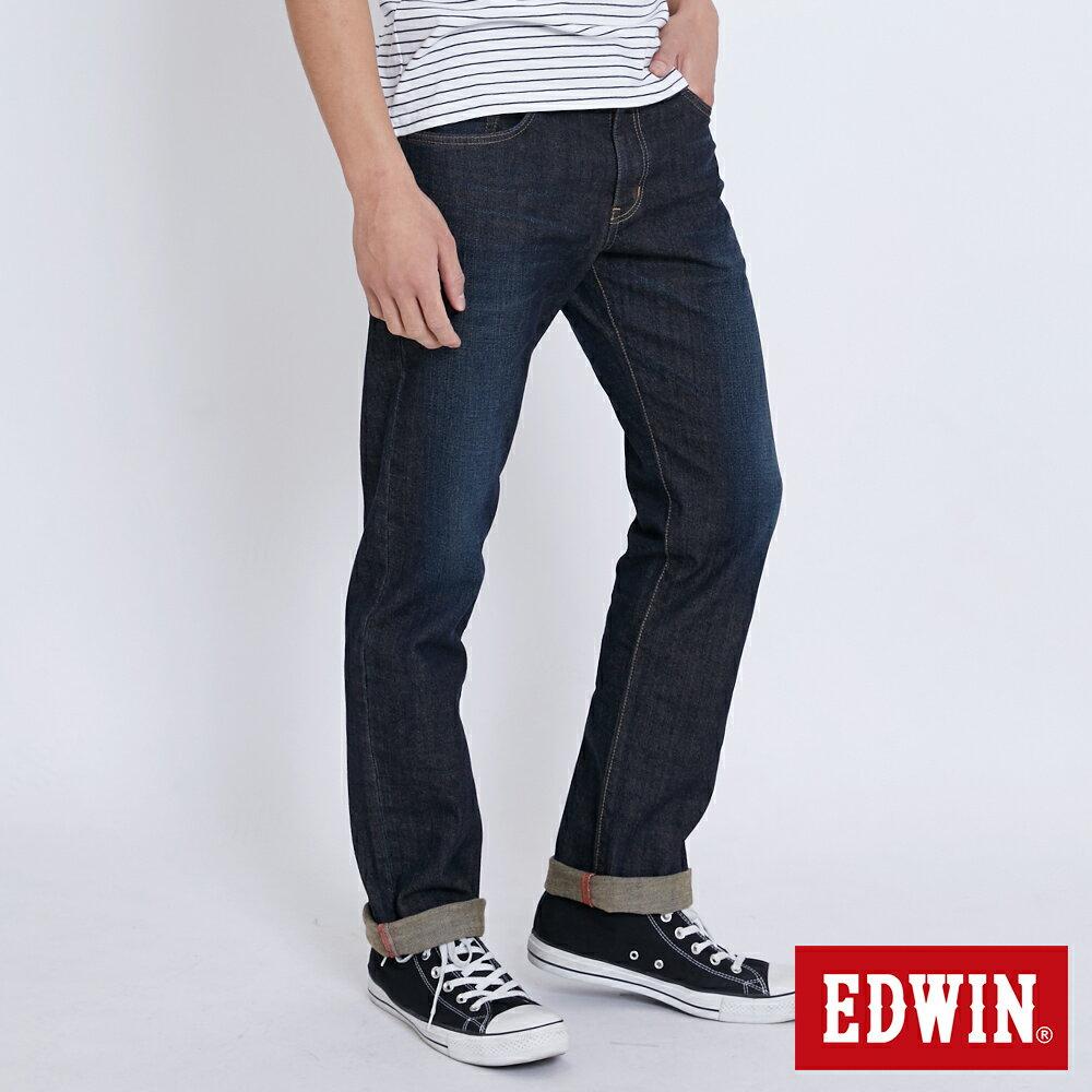新品↘EDWIN EDGE LINE 大尺碼 順向複刻版 中直筒牛仔褲 (紅色袋花)-男款 中古藍 STRAIGHT 2