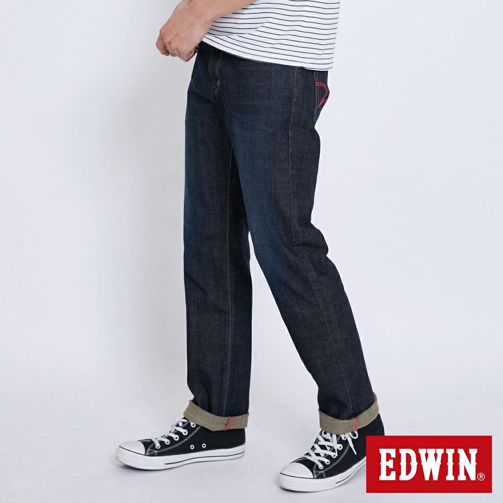 新品↘EDWIN EDGE LINE 大尺碼 順向複刻版 中直筒牛仔褲 (紅色袋花)-男款 中古藍 STRAIGHT 3