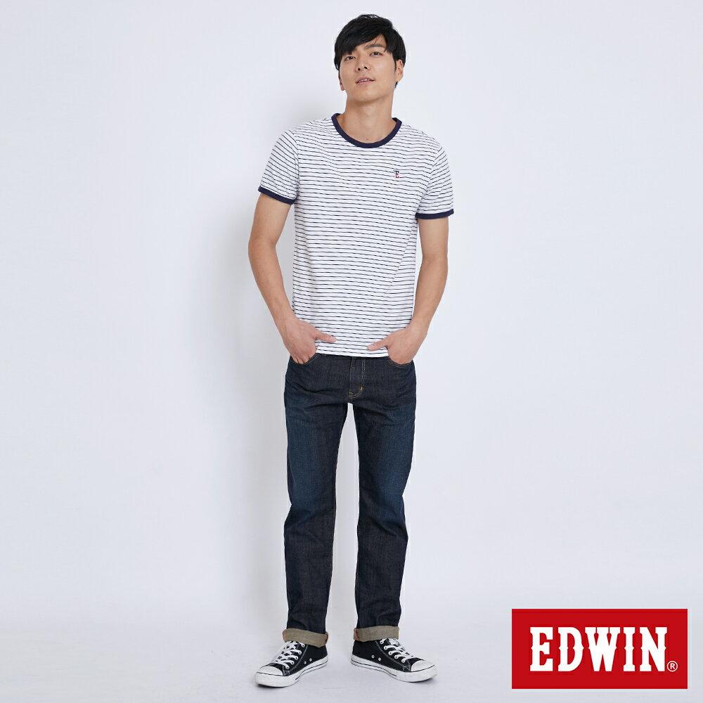 新品↘EDWIN EDGE LINE 大尺碼 順向複刻版 中直筒牛仔褲 (紅色袋花)-男款 中古藍 STRAIGHT 4
