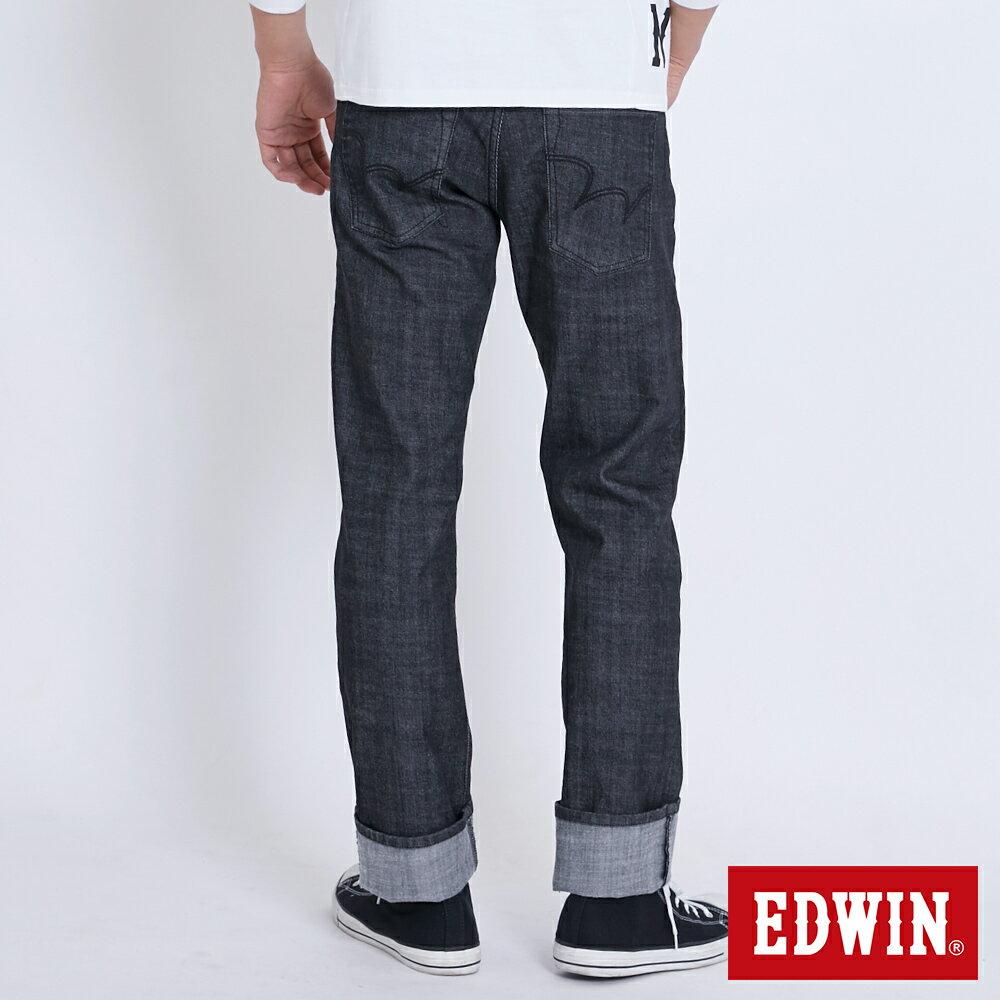 新品↘EDWIN EDGE LINE 順向複刻版 中直筒牛仔褲 (紅色袋花)-男款 牛仔黑 STRAIGHT 1