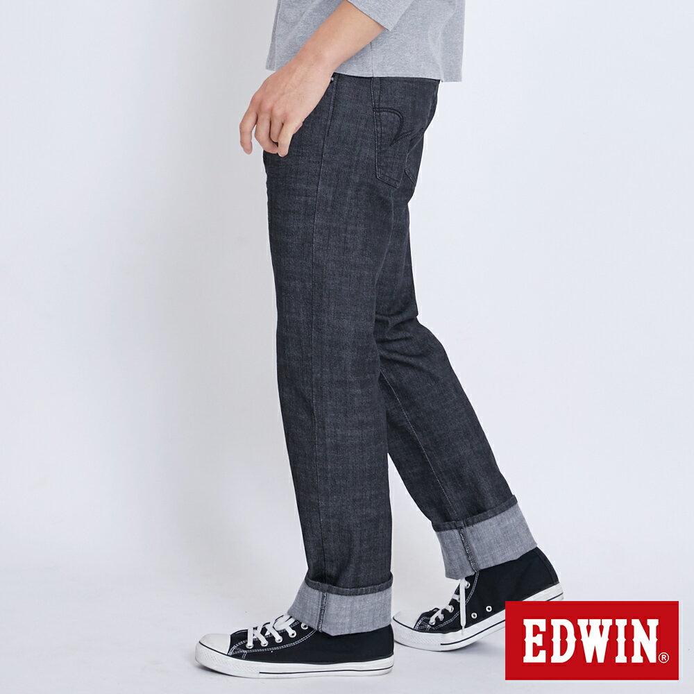新品↘EDWIN EDGE LINE 順向複刻版 中直筒牛仔褲 (紅色袋花)-男款 牛仔黑 STRAIGHT 2