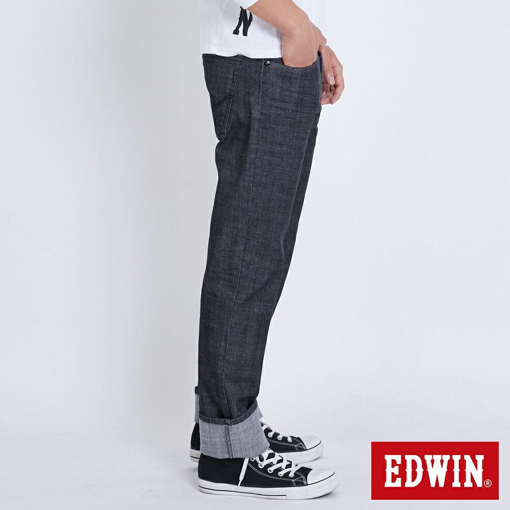 新品↘EDWIN EDGE LINE 順向複刻版 中直筒牛仔褲 (紅色袋花)-男款 牛仔黑 STRAIGHT 3