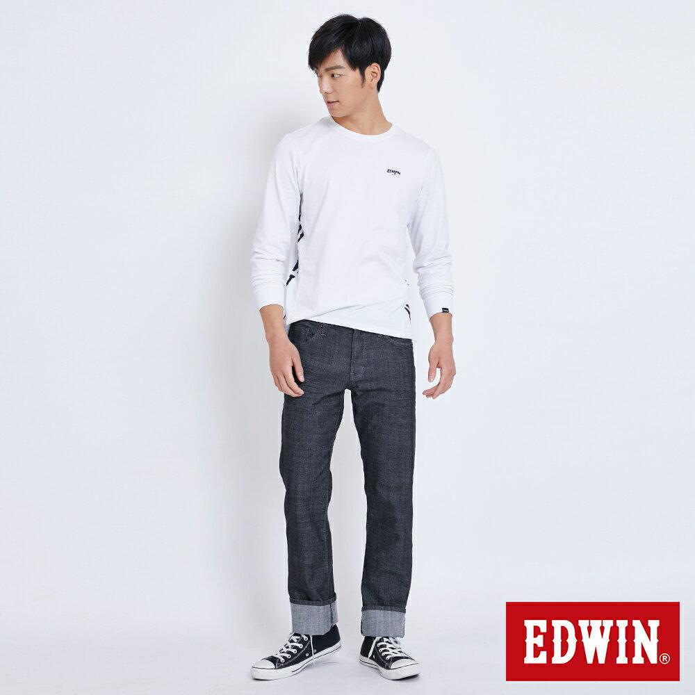 新品↘EDWIN EDGE LINE 順向複刻版 中直筒牛仔褲 (紅色袋花)-男款 牛仔黑 STRAIGHT 4