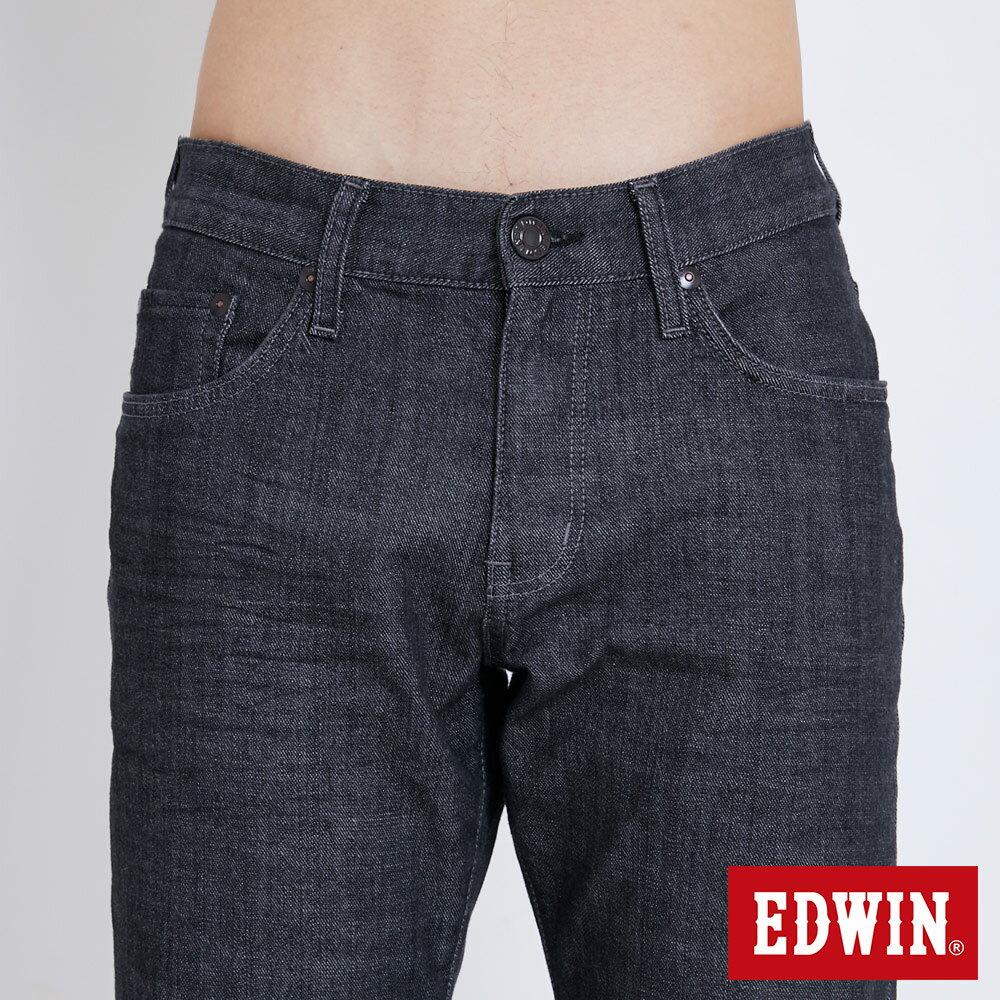 新品↘EDWIN EDGE LINE 順向複刻版 中直筒牛仔褲 (紅色袋花)-男款 牛仔黑 STRAIGHT 5