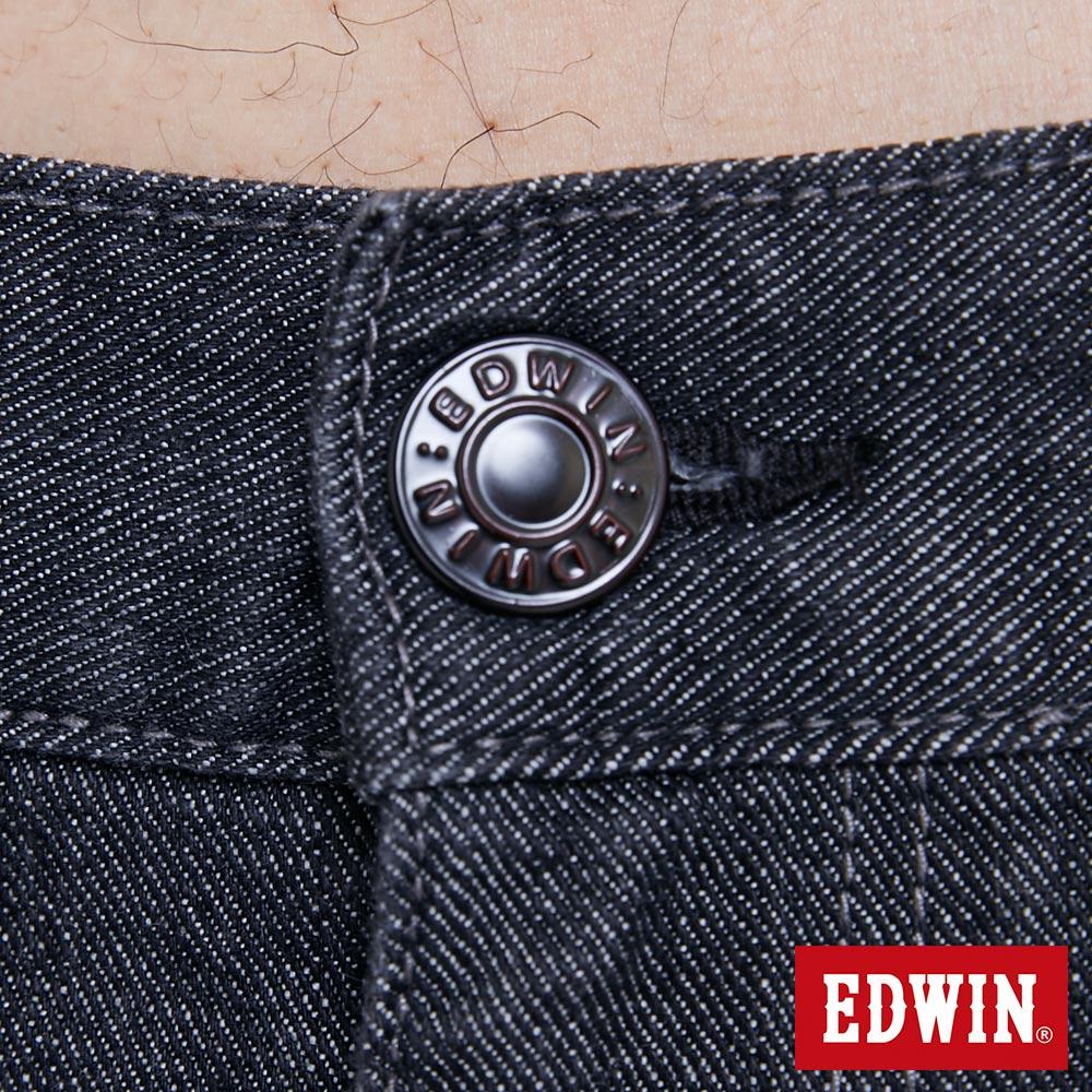 新品↘EDWIN EDGE LINE 順向複刻版 中直筒牛仔褲 (紅色袋花)-男款 牛仔黑 STRAIGHT 7