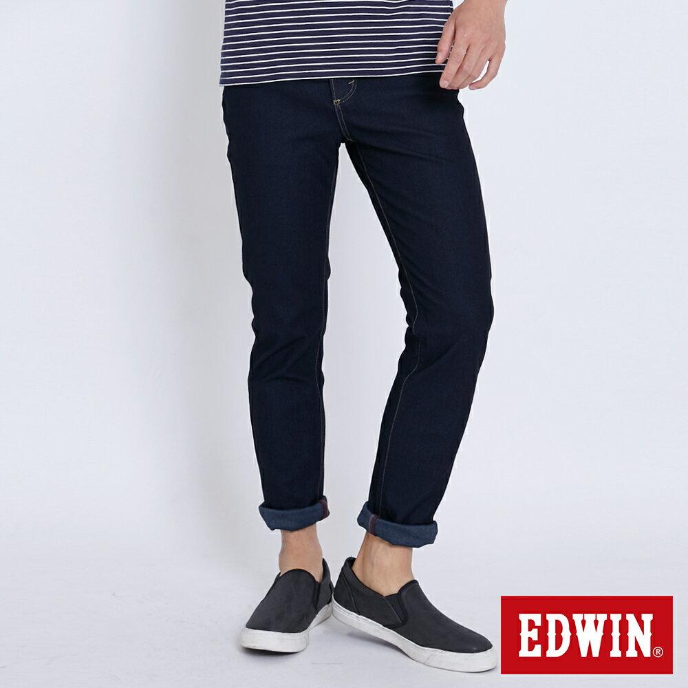 【APP領券9折】EDWIN JERSEYS 迦績 修身極彈 窄直筒牛仔褲-男款 原藍色 SLIM