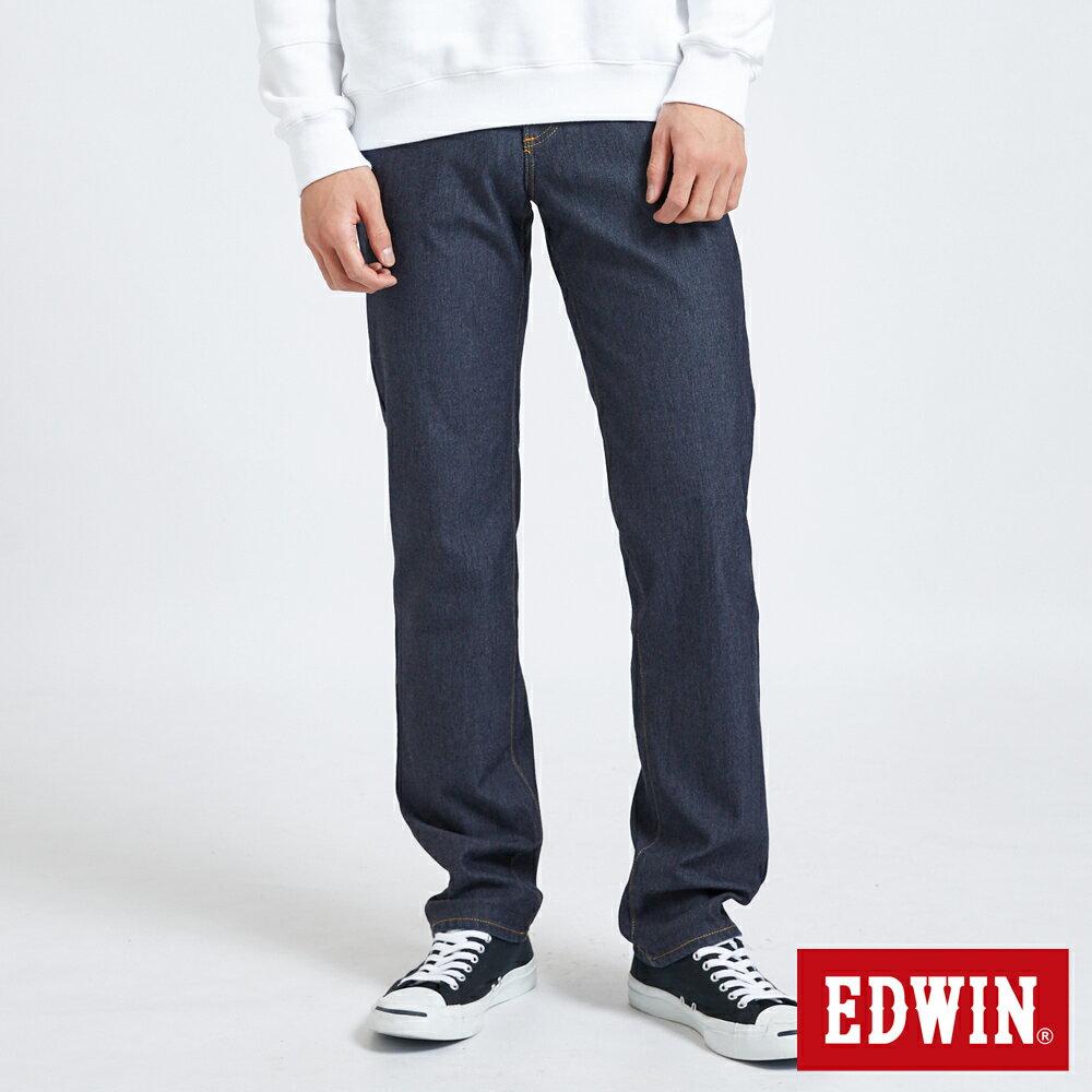 【APP領券9折】EDWIN JERSEYS 迦績中直筒伸縮牛仔褲-男款 原藍色 保溫褲 JOGGER