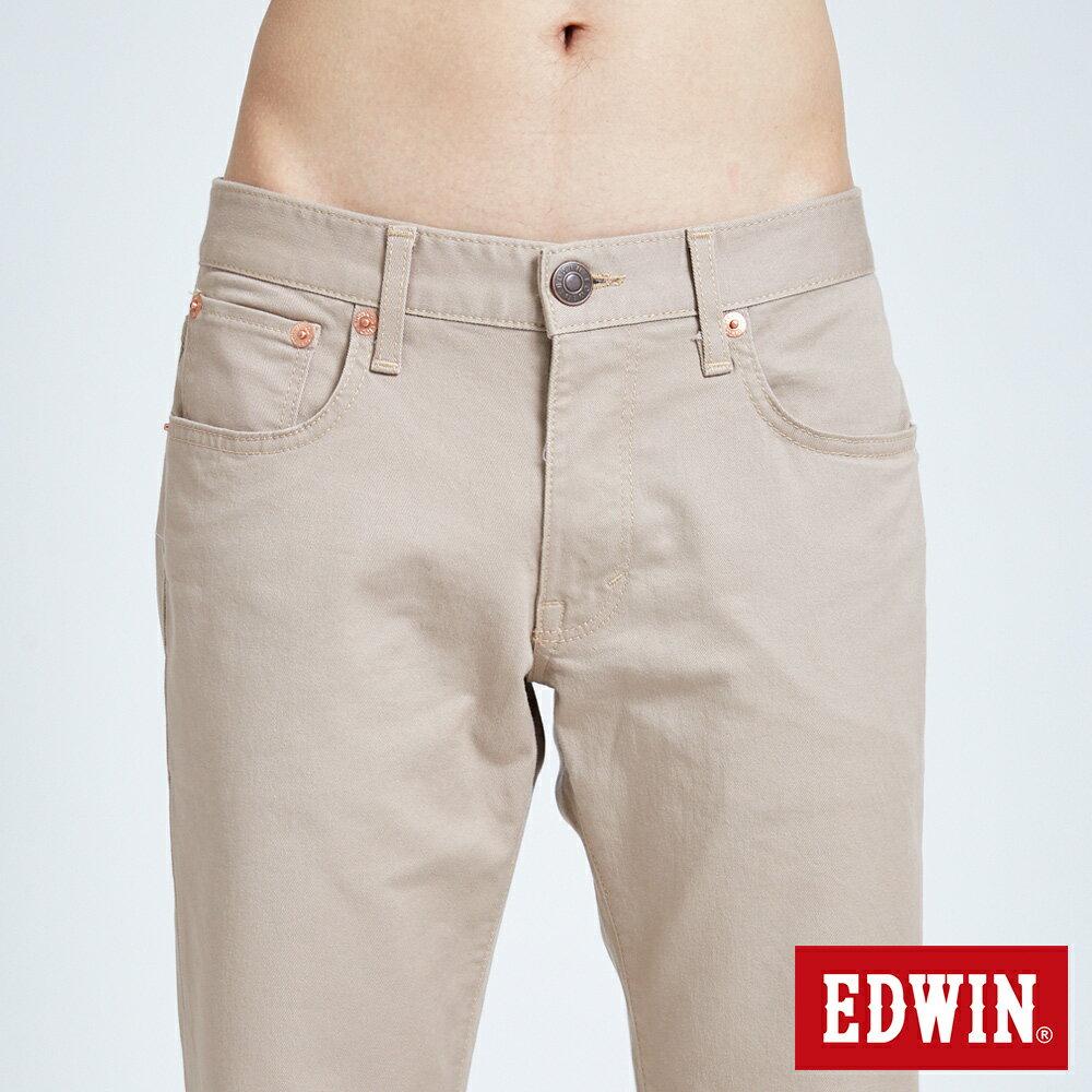新品↘EDWIN 503 BASIC 基本純色 AB休閒褲-男款 淺卡其 TAPERED 6