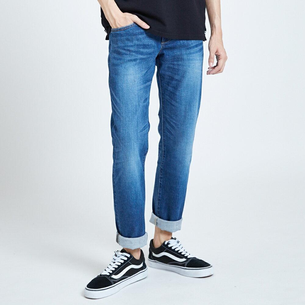 新品↘EDWIN 503 BASIC 基本五袋式 中直筒牛仔褲-男款 石洗藍 STRAIGHT 1