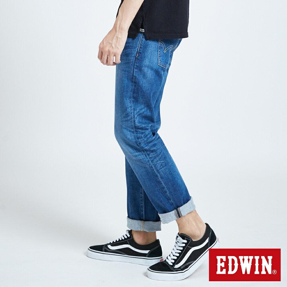 新品↘EDWIN 503 BASIC 基本五袋式 中直筒牛仔褲-男款 石洗藍 STRAIGHT 3