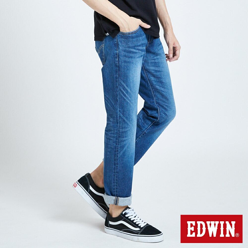 新品↘EDWIN 503 BASIC 基本五袋式 中直筒牛仔褲-男款 石洗藍 STRAIGHT 4