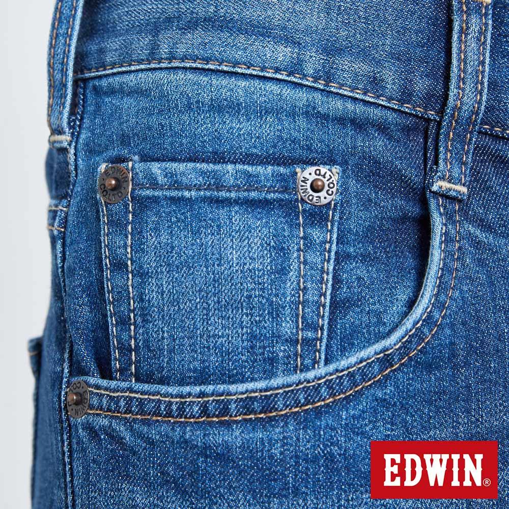 新品↘EDWIN 503 BASIC 基本五袋式 中直筒牛仔褲-男款 石洗藍 STRAIGHT 8